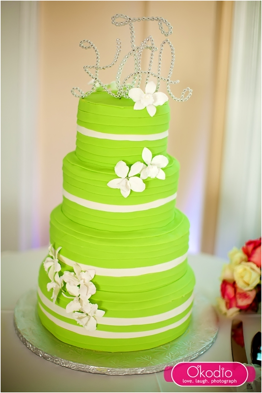 stripes-with-white-orchid wedding cake